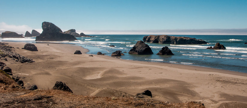Oregon Sand Dunes and Monoliths Panorama