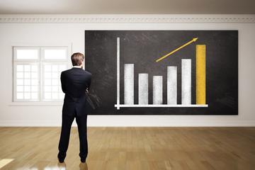 Geschäftsmann steht vor einem Diagramm auf einer Kreidetafel