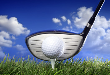 Wall Mural - .Golf club and ball in grass