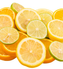 Wall Murals Slices of fruit Lime, lemon and orange layer slices over white background