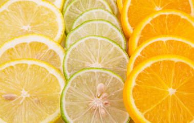 Slices of lemon, lime and orange close up view