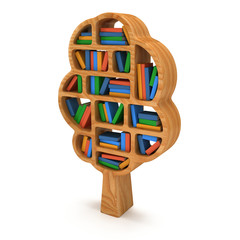 3d Tree of knowledge. Bookshelf on white.
