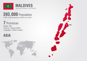 Wall Mural - Maldives world map with a pixel diamond texture.