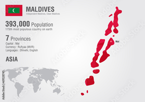 Maldives world map with a pixel diamond texture.\