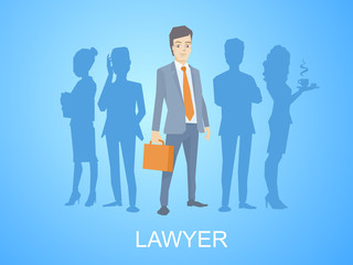 Vector illustration of a portrait of a man in a jacket lawyer wi