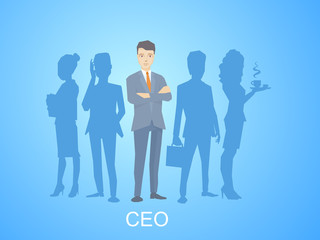 Vector illustration of a portrait of the leader of a businessman
