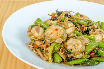 Stir Fried herbal vegetables with scallops