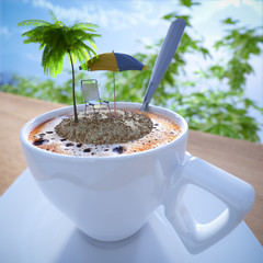 Coffee cup vacation relaxing concept composition