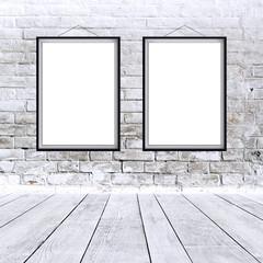 Two blank vertical paintings poster in black frame