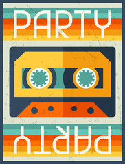 Party retro poster in flat design style.