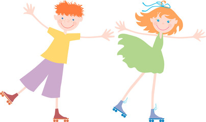 kids on the roller skates