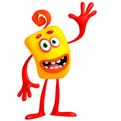 3d cartoon cute yellow monster