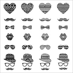 Hipster Vintage Icon with Aztec Pattern Background