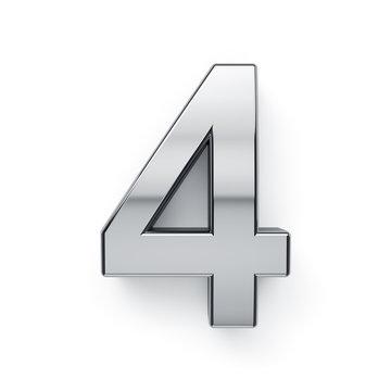 3d render of metalic digit four simbol - 4