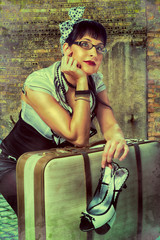 pin up girl with suitcase