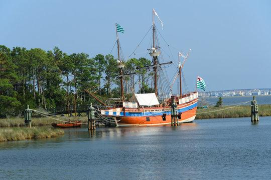 The Elizabeth II sailing ship replica in Manteo, NC