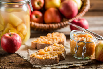 Small snack with apple jam in the pantry