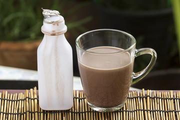 Fresh chocolate Milk in a glass