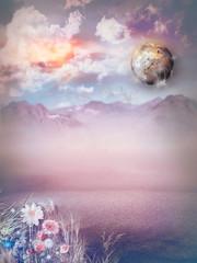 Canvas Prints Imagination Sunrise in the wasteland