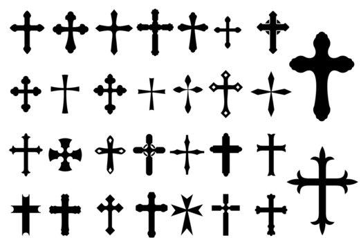 Religion Cross symbols set