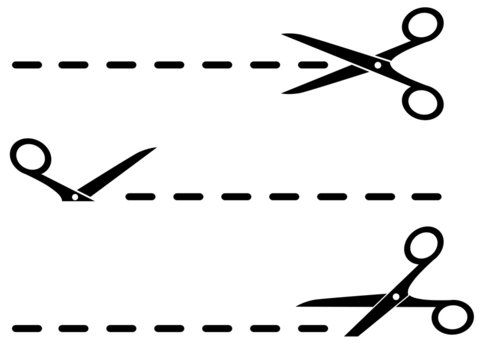 isolated cut lines with black scissors