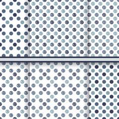 Dark blue polka dot pattern set - seamless vector texture