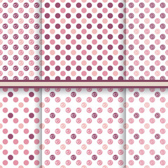 Soft pink polka dot pattern set - seamless vector texture