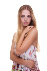 Fototapete - Gorgeous girl with young skin on white background