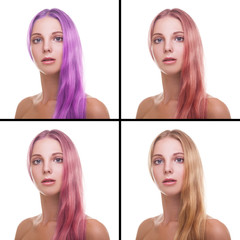 Fototapete - Young woman with different colors of hair