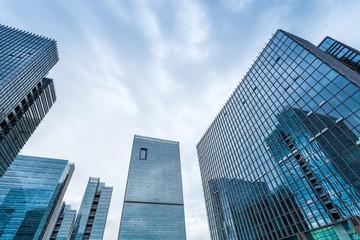 modern glass buildings closeup