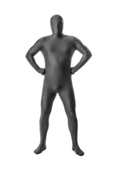man in a grey body suit