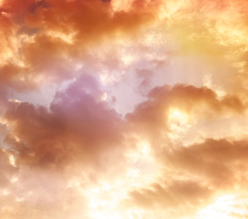 orange sky, clouds and sun behind the clouds, sun, sunrise and s