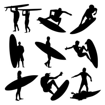 Surfers Silhouettes