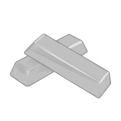 Silver bars isolated on a white background. Color line art
