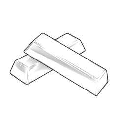 Metal bars isolated on a white background. Line art