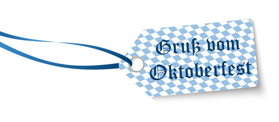 hangtag with text greetings from Oktoberfest