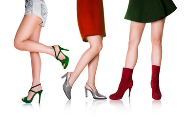 Wall Mural - Beautiful woman legs with shoes.Fashion styles.Italian colors