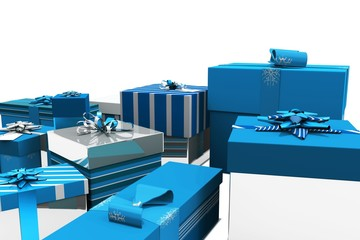 Blue and silver christmas gifts