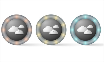 set of three icons with clouds