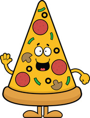 Cartoon Pizza Slice Happy