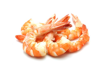 Zelfklevend Fotobehang Schaaldieren shrimp isolated on white background