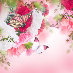 Wall Mural - Floral background of roses and butterfly, wild flowers