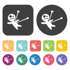 Voodoo doll icons set. Round and rectangle colourful 12 buttons.