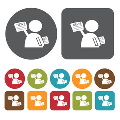 Newspaper seller icons set. Round and rectangle colourful 12 but