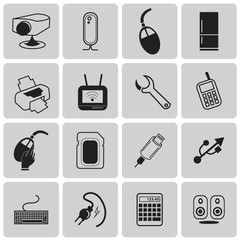Electronic device and household black icon set2. Vector Illustra