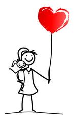 Mutter mit Tochter und Herzluftballon
