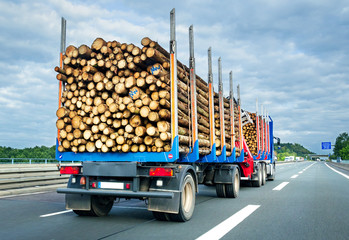 Holztransporter - Logging LKW Autobahn Logistik Holz Transport