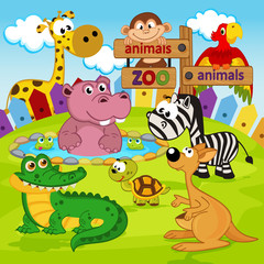 zoo animals  -  vector illustration, eps