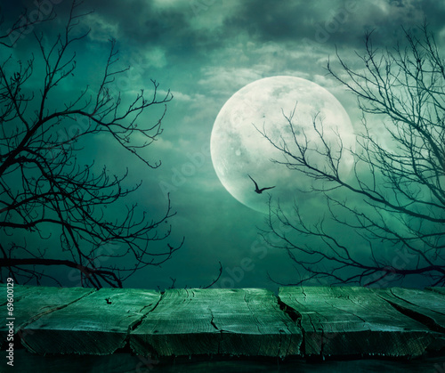Halloween background with table