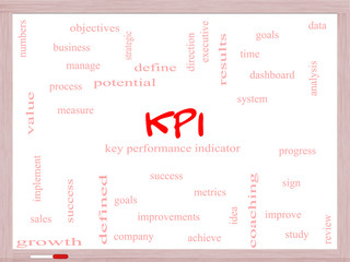 KPI Word Cloud Concept on a Whiteboard